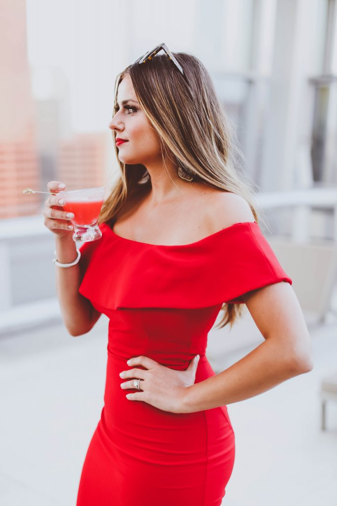 red off-the-shoulder frill bodycon dress, date night, wp24 rooftop, lychee martini, karen walker number one sunglasses, ritz carlton los angeles, la live, pool rooftop