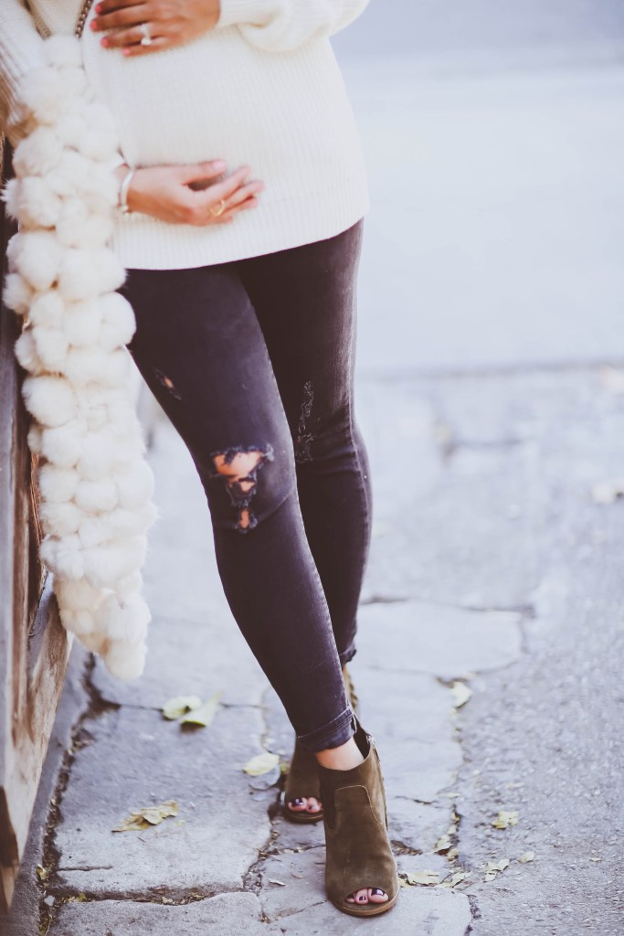 #BumpStyle // White Lace-Up Back Sweater & Tassel Booties | BondGirlGlam.com