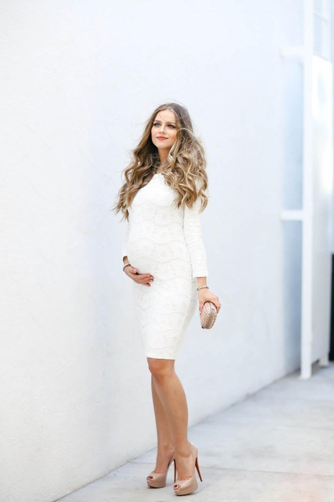 #BumpStyle // White Lace Long-Sleeve Bodycon Dress | BondGirlGlam.com