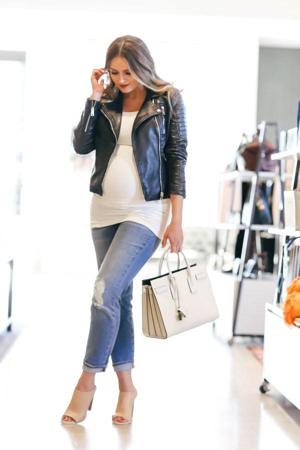 #BumpStyle // Moto Jacket & Boyfriend Jeans | BondGirlGlam.com