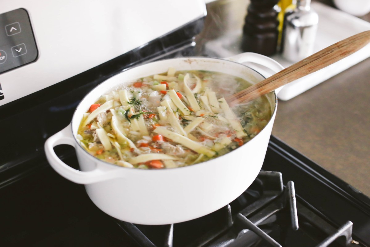 Easy Whole-Chicken Noodle Soup in a Dutch Oven