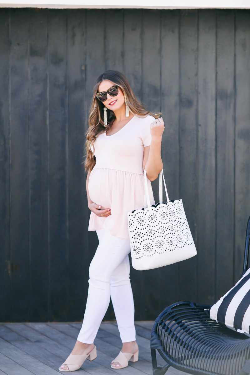 #BumpStyle // Blush Pink T-Shirt & The Best White Maternity Jeans