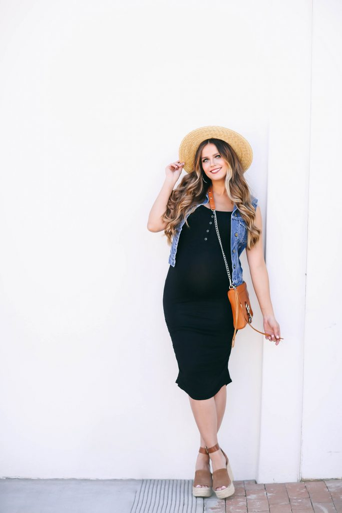 #BumpStyle // Denim Vest & Black Tank Maternity/Nursing Dress | BondGirlGlam.com