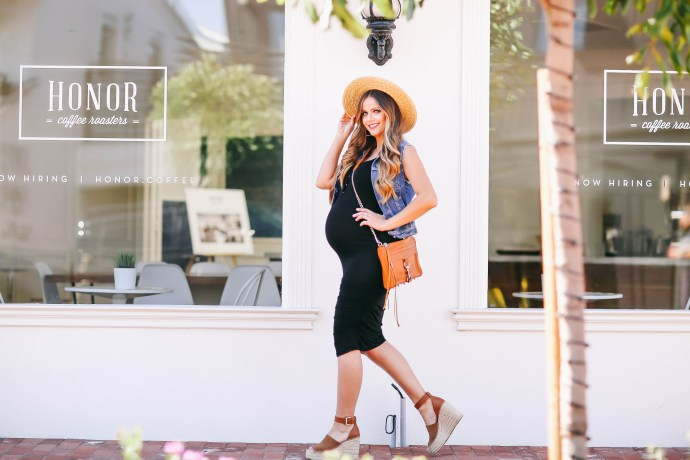 #BumpStyle // Denim Vest & Black Tank Maternity/Nursing Dress | BondGirlGlam.com