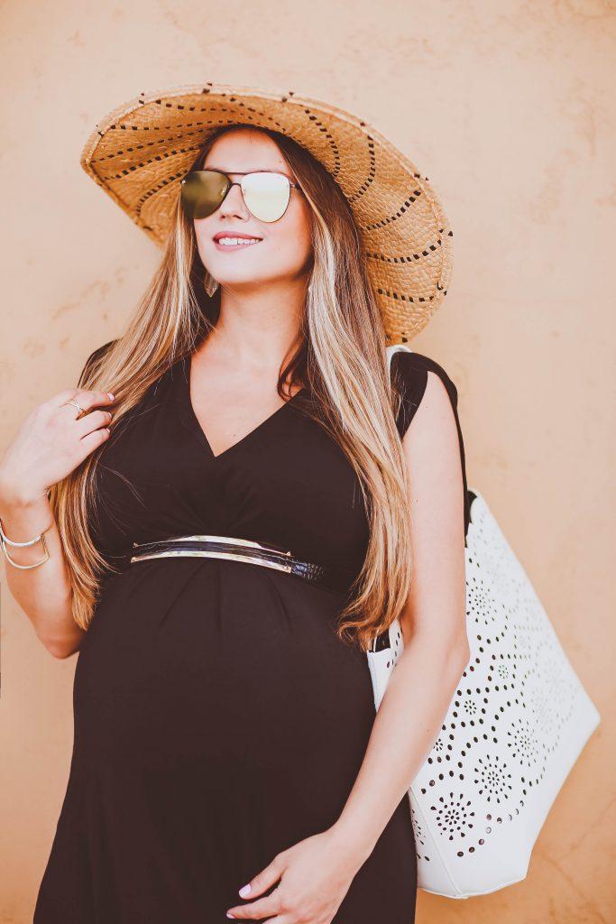 #BumpStyle // Split Kimono Sleeve Black Maternity Maxi Dress | BondGirlGlam.com