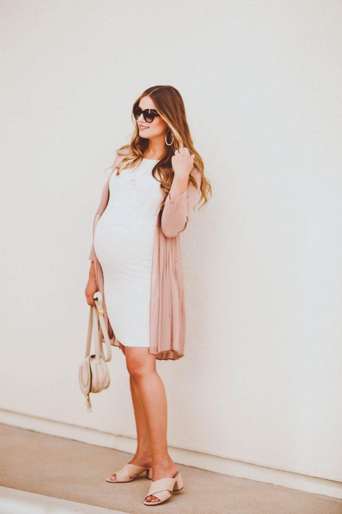 #BumpStyle // Pink Pleated Duster Coat & White Lace Maternity Dress | BondGirlGlam.com