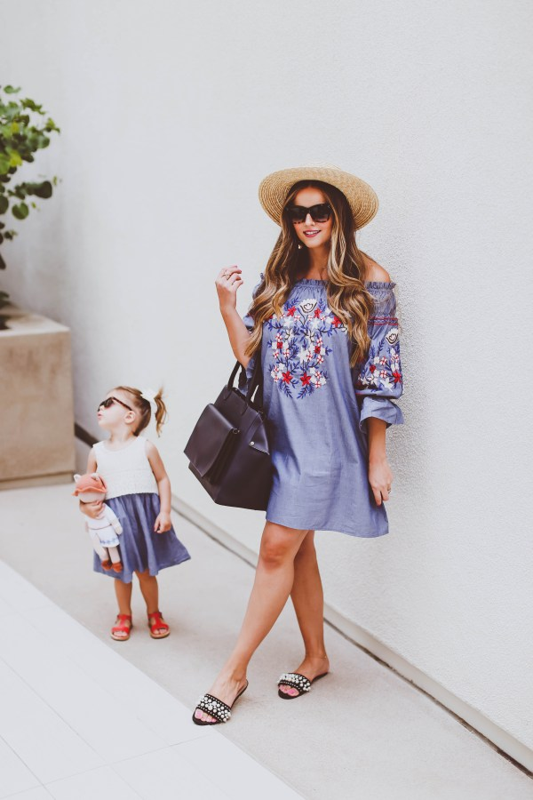 #OOTD // Merlin Paris Diaper Bag & Embroidered Off-the-Shoulder Chambray Dress | BondGirlGlam.com