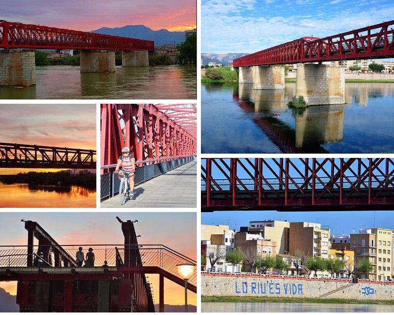 De rode brug in Tortosa geeft toegang tot de via verde