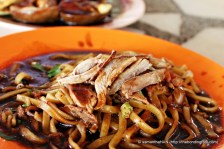 "The noodles used is what we called ""Hokkien"" mee. They are egg noodles but is flat in shape compared to the usual spaghetti shaped ones. These noodles are moist suitable for braising too as they do not break down easily (although in this scenario, the noodles are just blanched)."