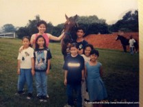 An outing to the stable with the children's classmates in 1999.