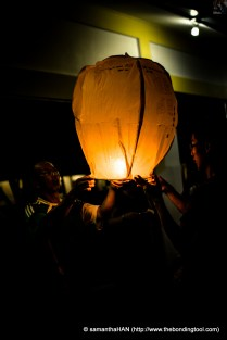 Goh and son, Jun Xuan, made their wishes on this sky lantern.