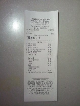 Bill for Muthu's Curry @ Dempsey.