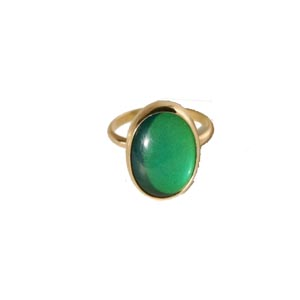 Green and gold beveled mood ring