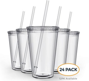 24 pack of Clear plastic Tumbler with Straws