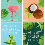 Tropical Valentine Card Set