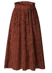 High Waist Polka Dot Pleated Skirt