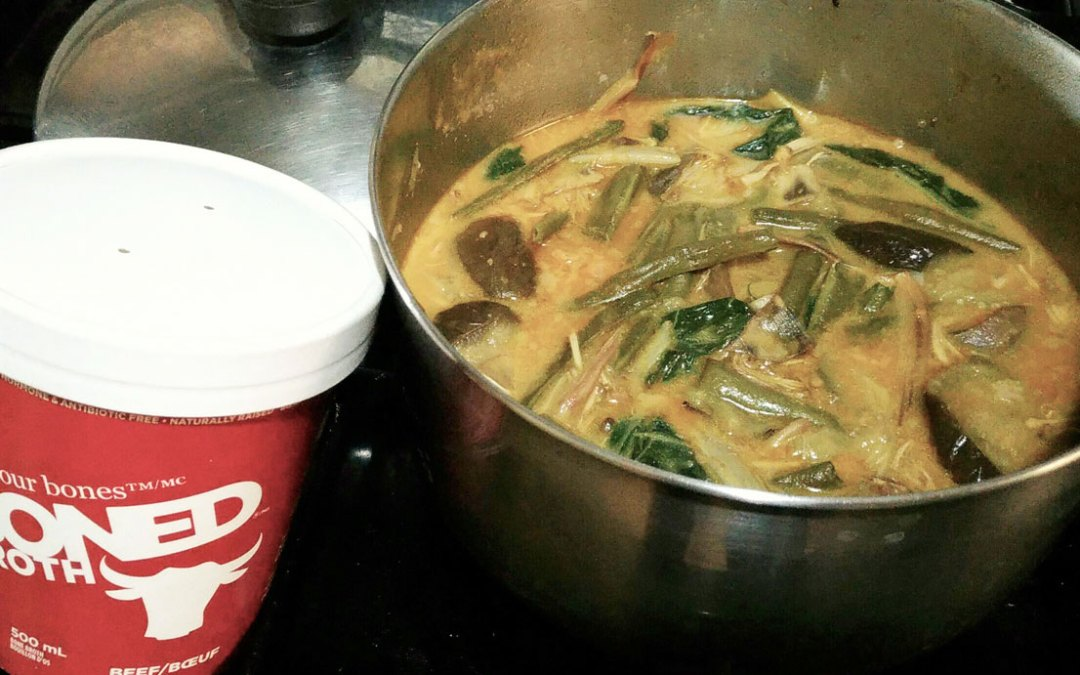 Kare-Kare or Meat and Vegetable Stew in Peanut Sauce with Boned Broth