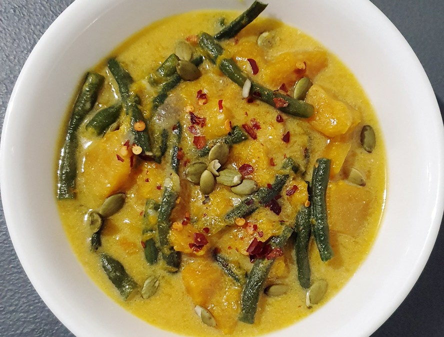 Pumpkin/Squash and Long Beans in Coconut Cream