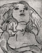 dry point etching illustration from a hand bound book of poetry