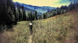 Mo decends toward the Fox Creek Cabin