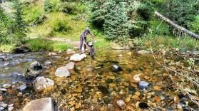 Mo crosses CottonWood Creek to head up the Wheeler Trail