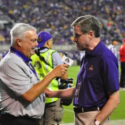 Bonesville's own, Brian Bailey interviews East Carolina's new Chancellor, Dr. Cecil Staton during Saturday's matchup with Western Carolina. (W.A. Myatt photo)