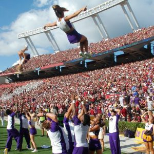 The ECU cheerleaders got up for the Pirates at Williams Brice stadium on Saturday. The mood was less buoyant at the end of the game as the Pirates fell to South Carolina in a heartbreaking loss. (Al Myatt photo)