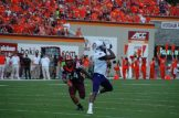 Zay Jones of ECU makes a catch for a 28-yard gain to the Virginia Tech 9-yard line to start the second quarter. (Photo by Al Myatt)