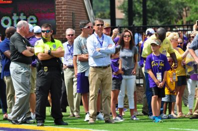 North Carolina Governor Pat McCrory looks on before the Pirates take the field against in-state foe North Carolina State. (WA Myatt photo)