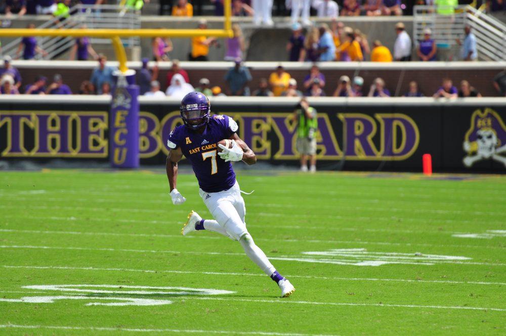 Standout wide receiver Zay Jones works for yardage after a catch. (WA Myatt photo)