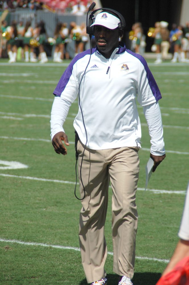 Coach Scottie Montgomery patrols the sideline on Saturday