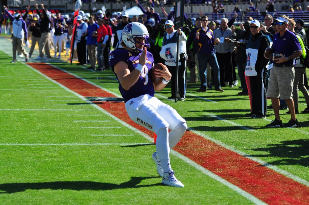 Philip Nelson prepares to salute on Military Appreciation Day after scoring ECU's first TD on a 7-yard run. (Bonesville Staff photo)