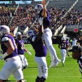 Philip Nelson has an uplifting experience after giving ECU the initial lead. (W.A. Myatt photo)
