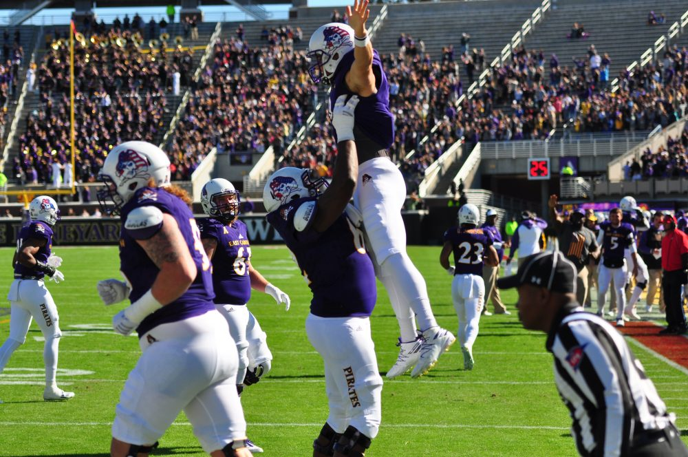Philip Nelson has an uplifting experience after giving ECU the initial lead. (Bonesville Staff photo)