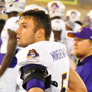 Gardner Minshew came on in relief and completed 29 of 49 passes for 336 yards with one touchdown and no interceptions in ECU's AAC contest at Tulsa on Saturday, Nov. 5, 2016. (Photo by Al Myatt)
