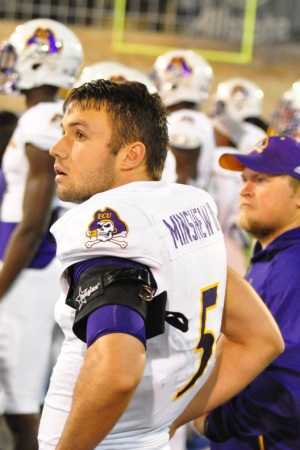 Gardner Minshew has come on in relief of starter Philip Nelson in each of East Carolina's last two games. With Nelson nursing a shoulder ailment, Minshew may start this week against Navy. (Photo by Al Myatt)