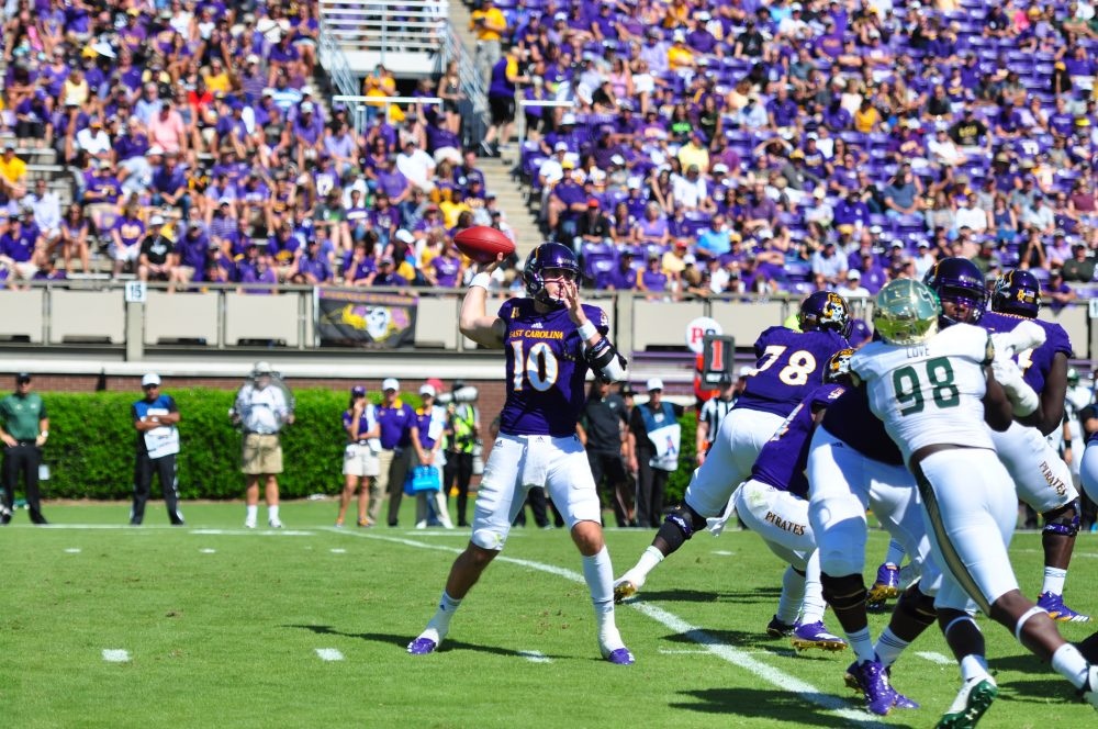 Thomas Sirk delivers against South Florida. The Florida product threw for 302 yards with two touchdowns and two interceptions and led ECU's rushing attack with 87 yards and two touchdowns. (Photo by Bonesville Staff)