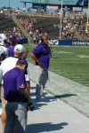ECU defensive coordinator Robert Prunty on the sideline. (Photo by Al Myatt)