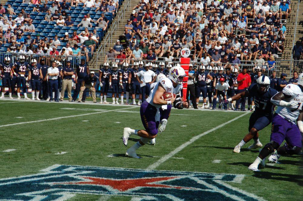 Graduate transfer Thomas Sirk gives East Carolina a valuable running dimension at quarterback. (Photo by Al Myatt)