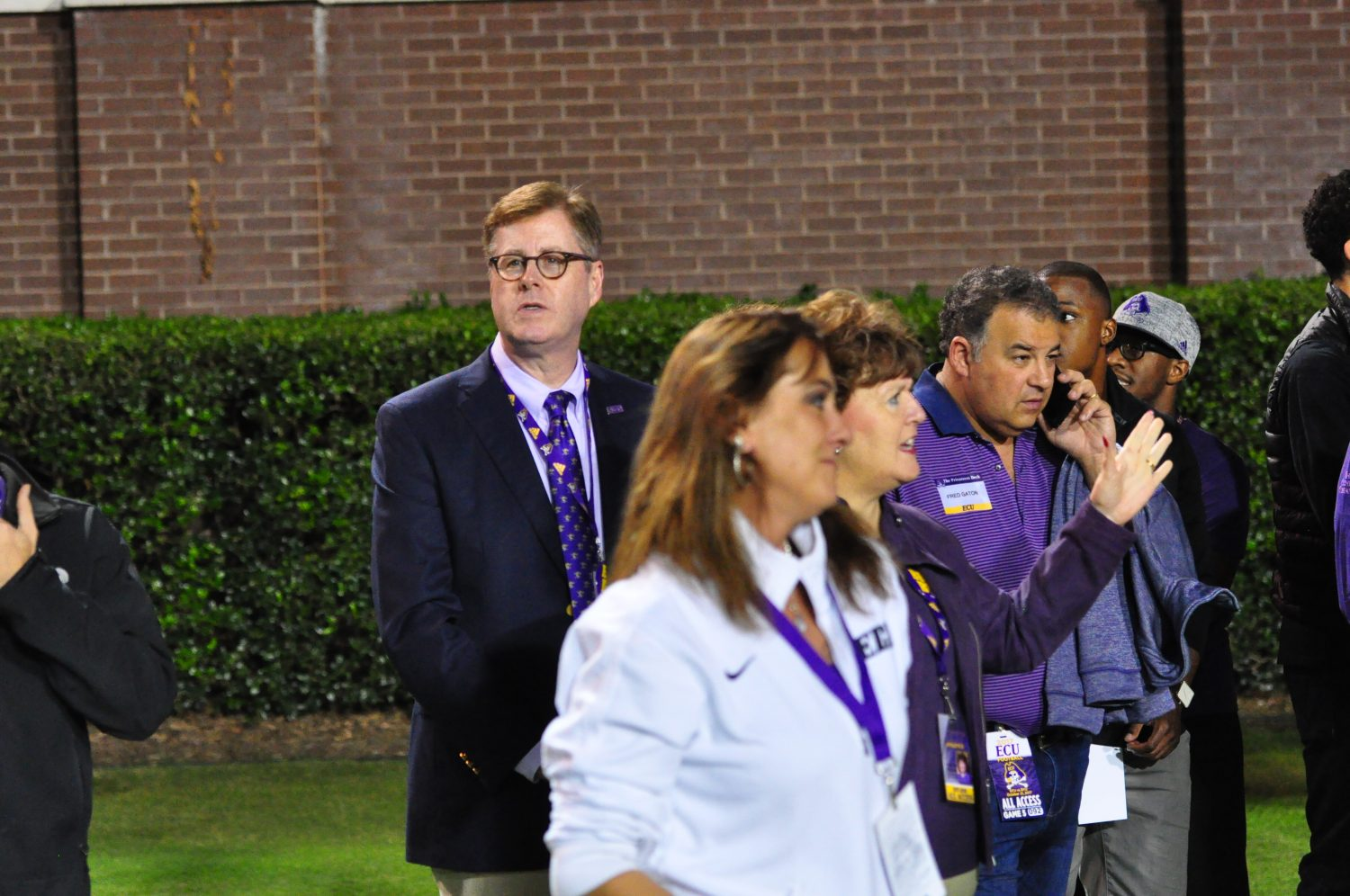 Dr. Cecil Staton, ECU chancellor, was looking on as the Pirates took the field. (Photo by Al Myatt)