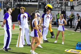 Pirate cheerleaders were on hand to summon support from the ECU contingent of fans. (Photo by Al Myatt)