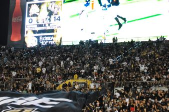 UCF fans are excited about a team that improved to 5-0 on Saturday night. (Photo by Al Myatt)