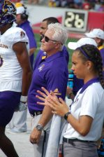 ECU assistant athletic director for strength and conditioning Jeff Connors keeps an eye on the action. (Photo by Al Myatt)