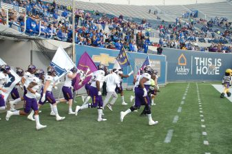 The Pirates come out for their American Athletic Conference game at Memphis on Saturday. (Photo by Al Myatt)