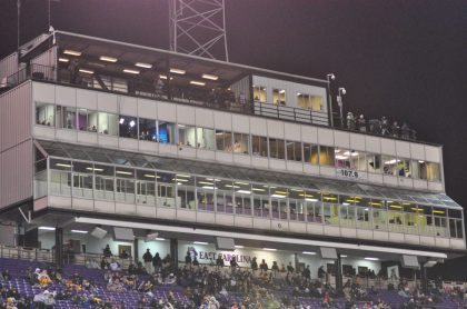 The old press box above the south stands of Dowdy-Ficklen Stadium has been relegated to history. (File photo by Al Myatt)