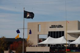 The wind was blowing at Dowdy-Ficklen Stadium on Saturday as the flag indicates.
