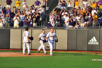 Junior Connor Litton lets out some excitement as he heads back to the ECU dugout after clubbing a two-run home run. (Photo by W.A. Myatt)
