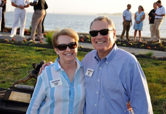 AAC commissioner Mike Aresco and wife, Sharon, mingled at the clambake on Monday evening. (Photo by Al Myatt)