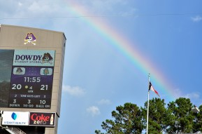 There was a portion of a rainbow in the fourth quarter but the pot of gold went to the Aggies. (Photo by Al Myatt)