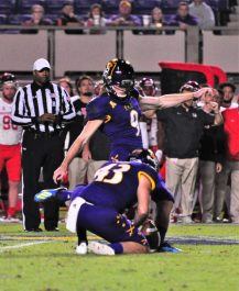 Jake Verity kicked two field goals, including this one from 33 yards. (Photo by Al Myatt)